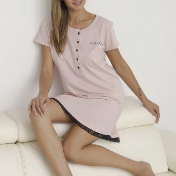 Pigiama Coconuda lungo in cotone rosa