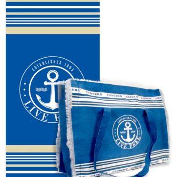 Carrera telo più borsa Blu